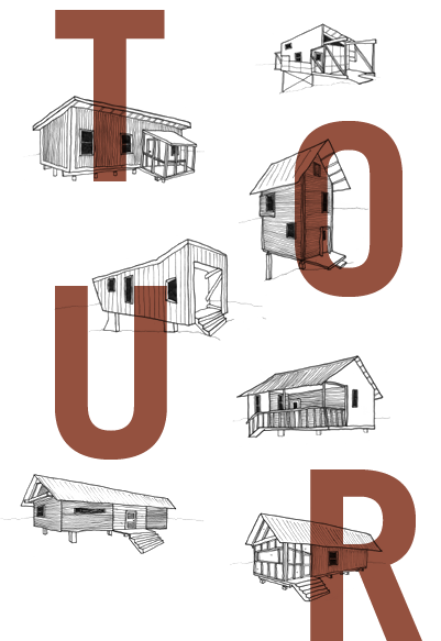Tour in bold rust-colored text in foreground. Background layer is a collage of hand-drawn perspectives of seven different 20K Homes
