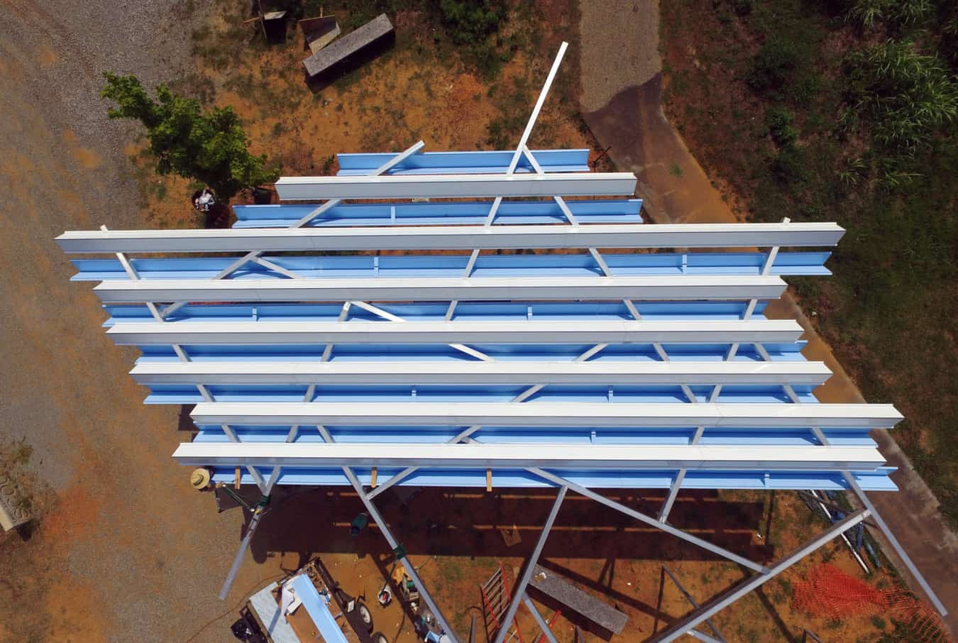 View of the shade structure from above