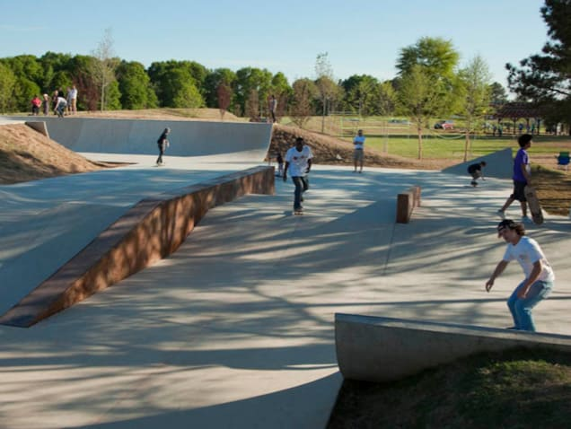 Wide view of the skatepark
