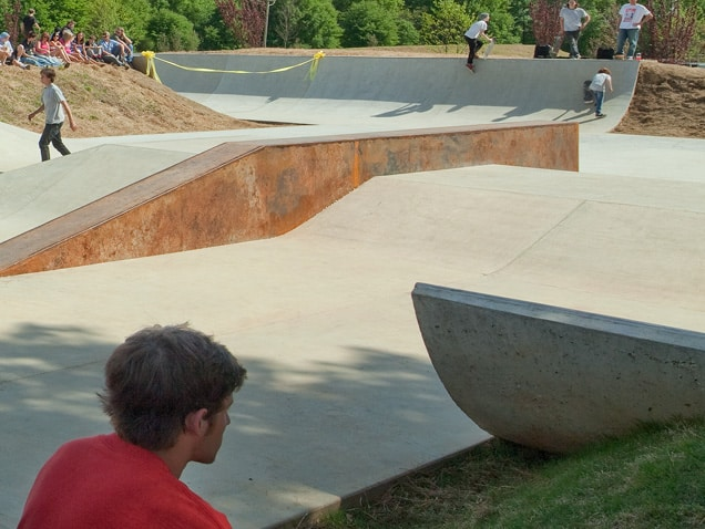 View of the skatepark's ramps