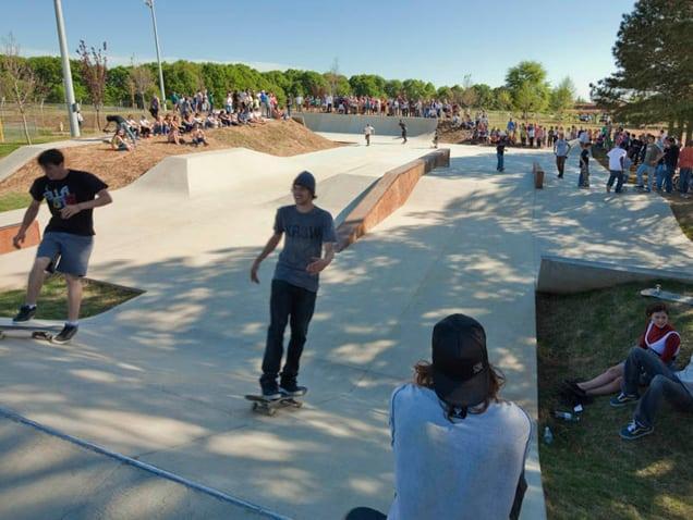 Skaters enjoying the Lion's Park skatepark
