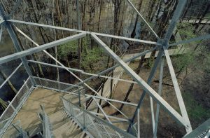 Close up of the Birding Tower stairs