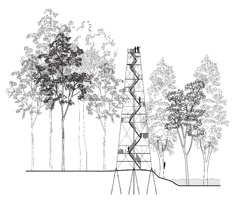 Architectural drawing of the Birding Tower