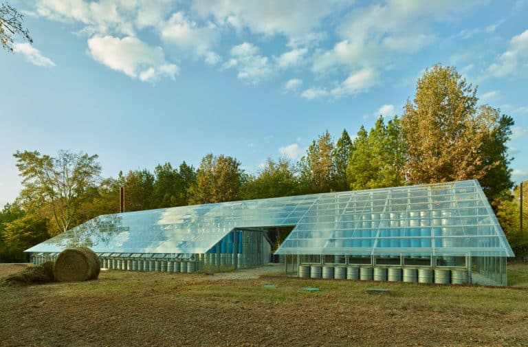 Front view of the Rural Studio Farm solar greenhouse