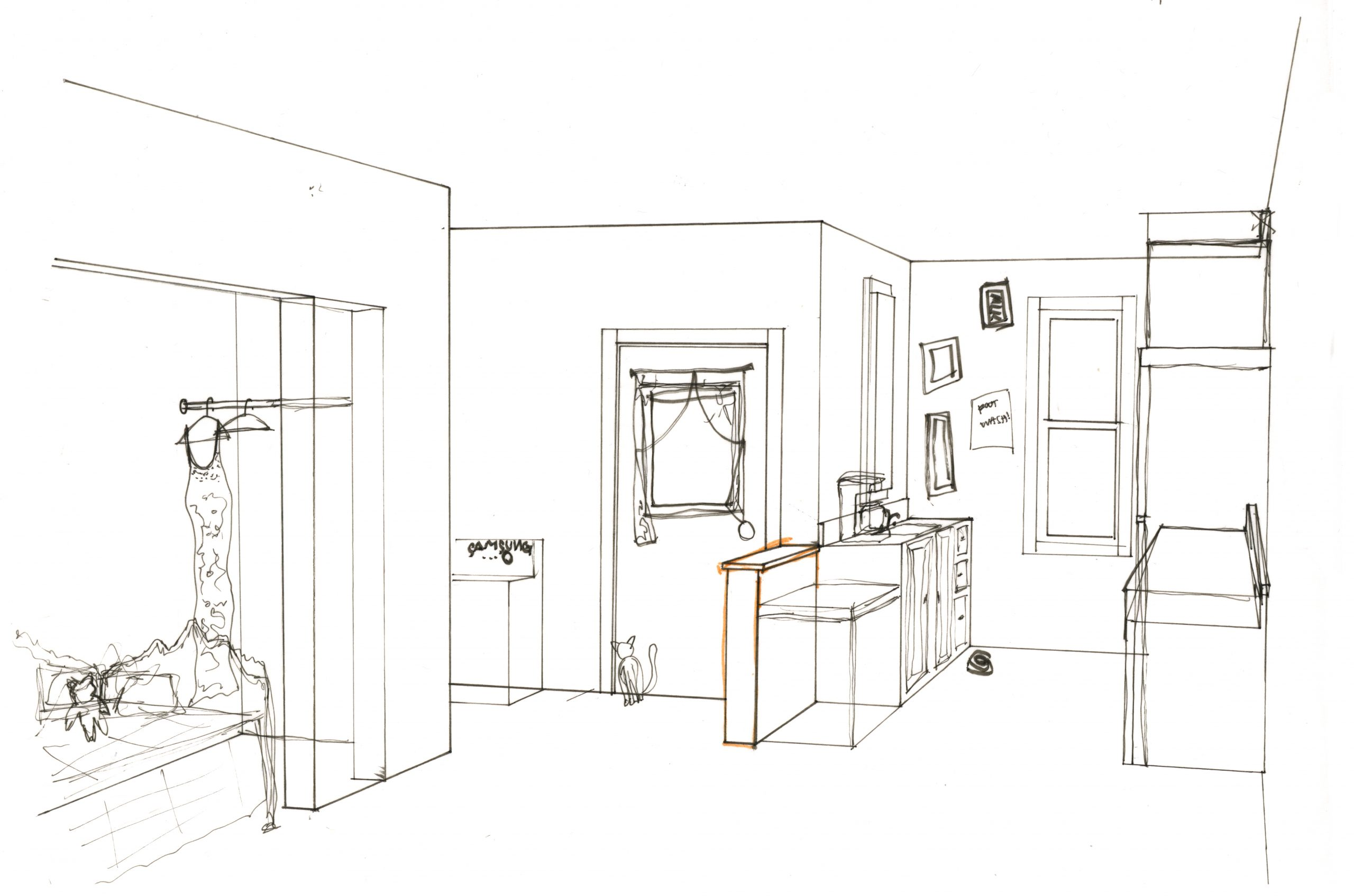 hand-drawn interior sketch of sleeping nook and kitchen
