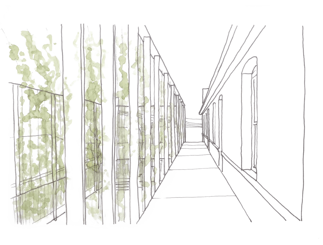 courtyard hand rendering