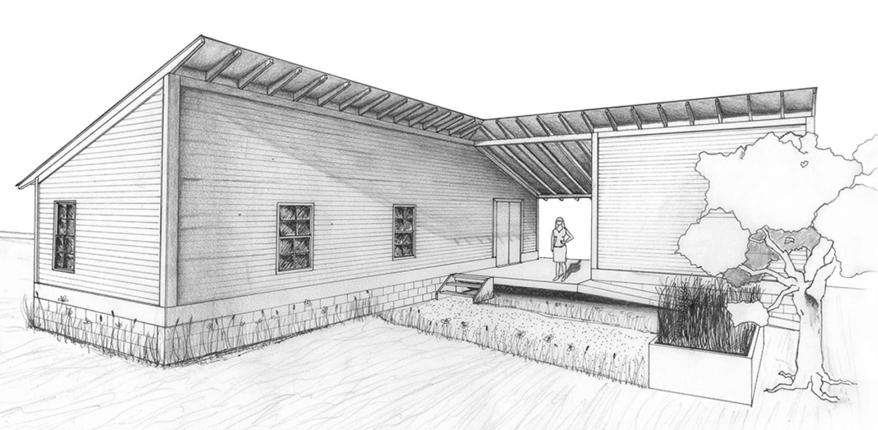 Exterior rendering of home in pencil