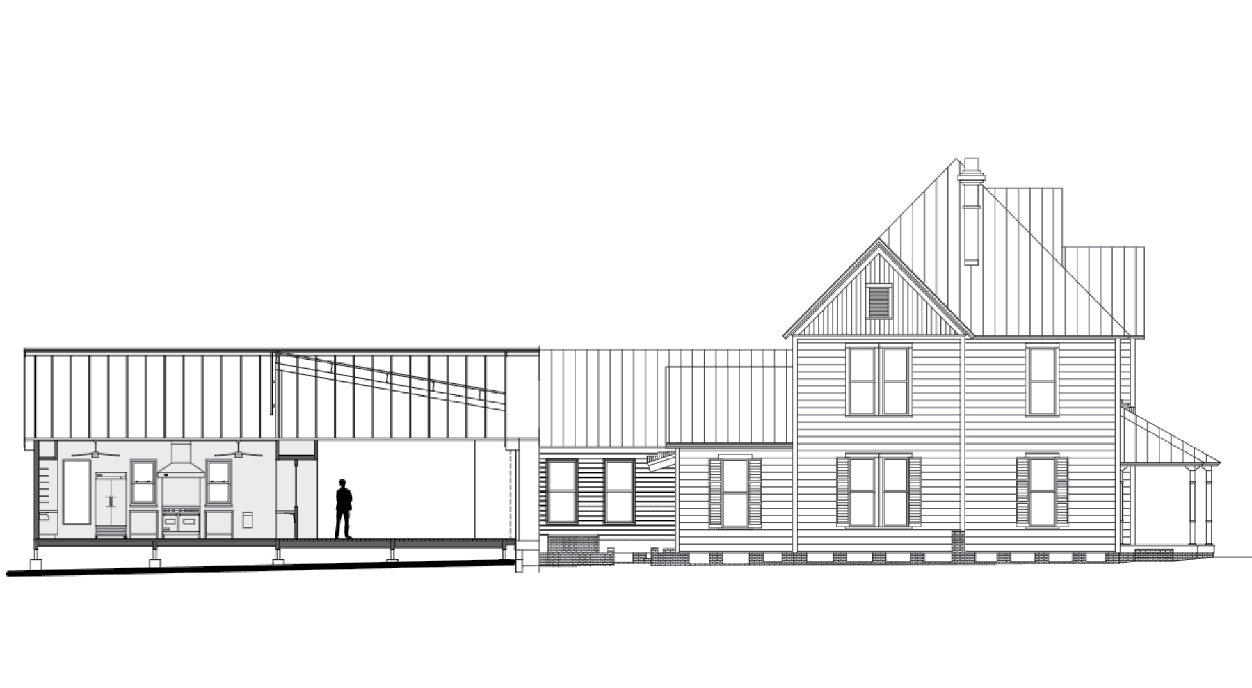 computer rendering of Morisette House with kitchen attached