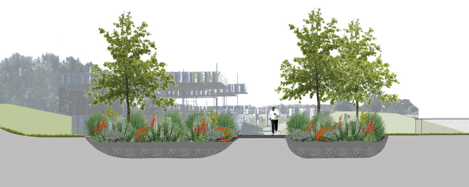 rendering of landscape plan with jogger
