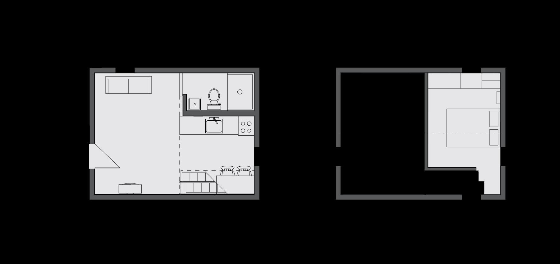 floor plan of Loft Home, showing ground floor and loft