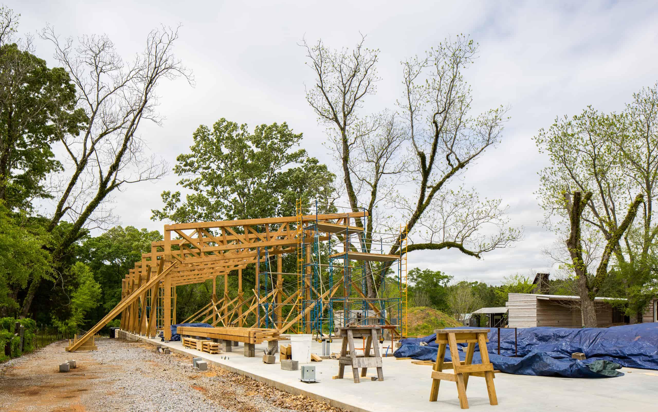 pavilion mid-construction