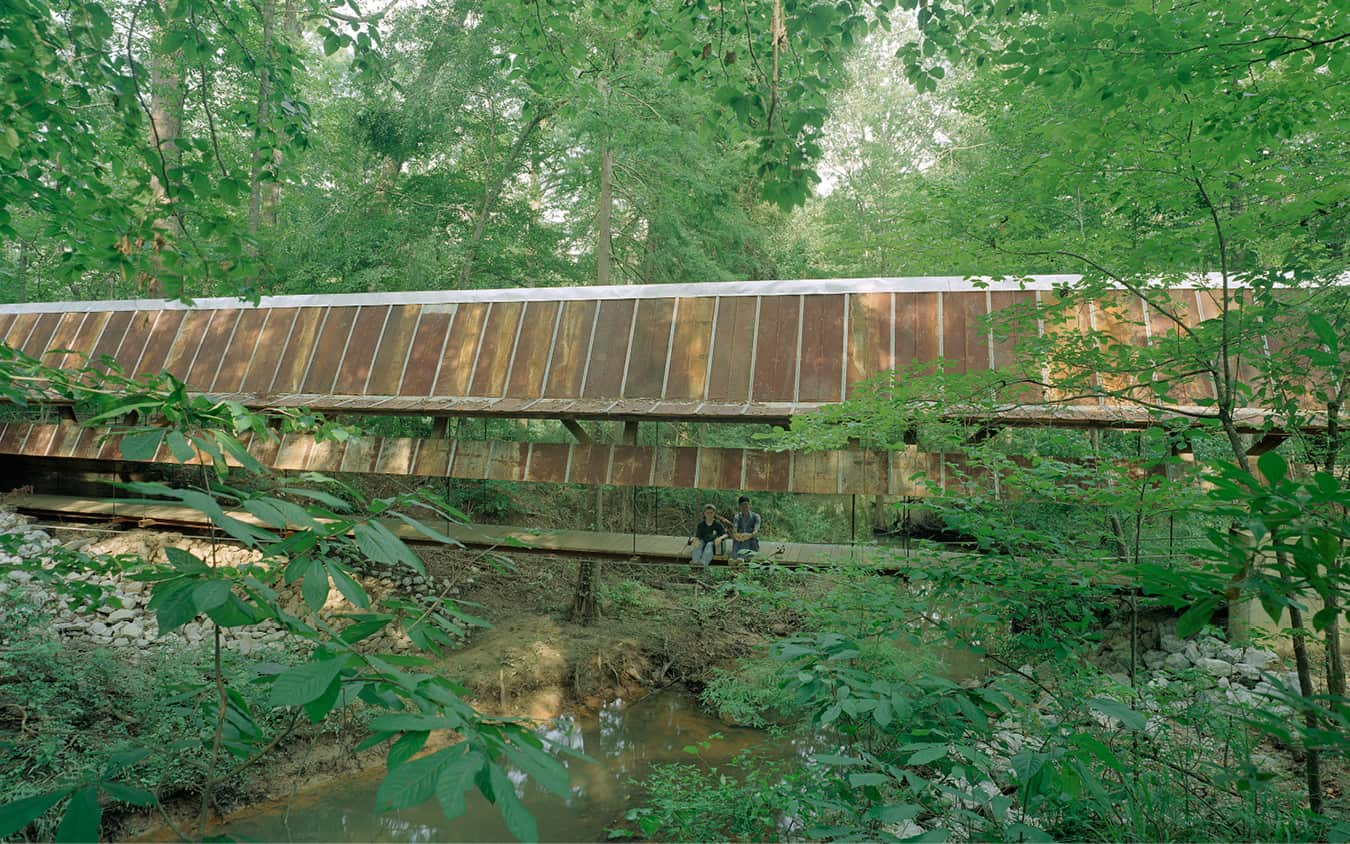 Wide view of the Perry Lakes Park bridge