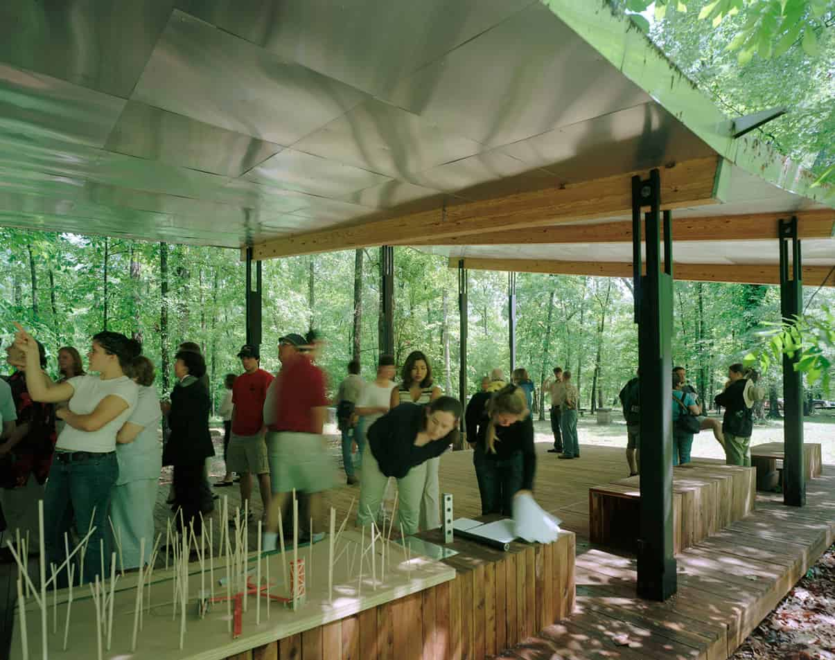 A group of people underneath the pavilion