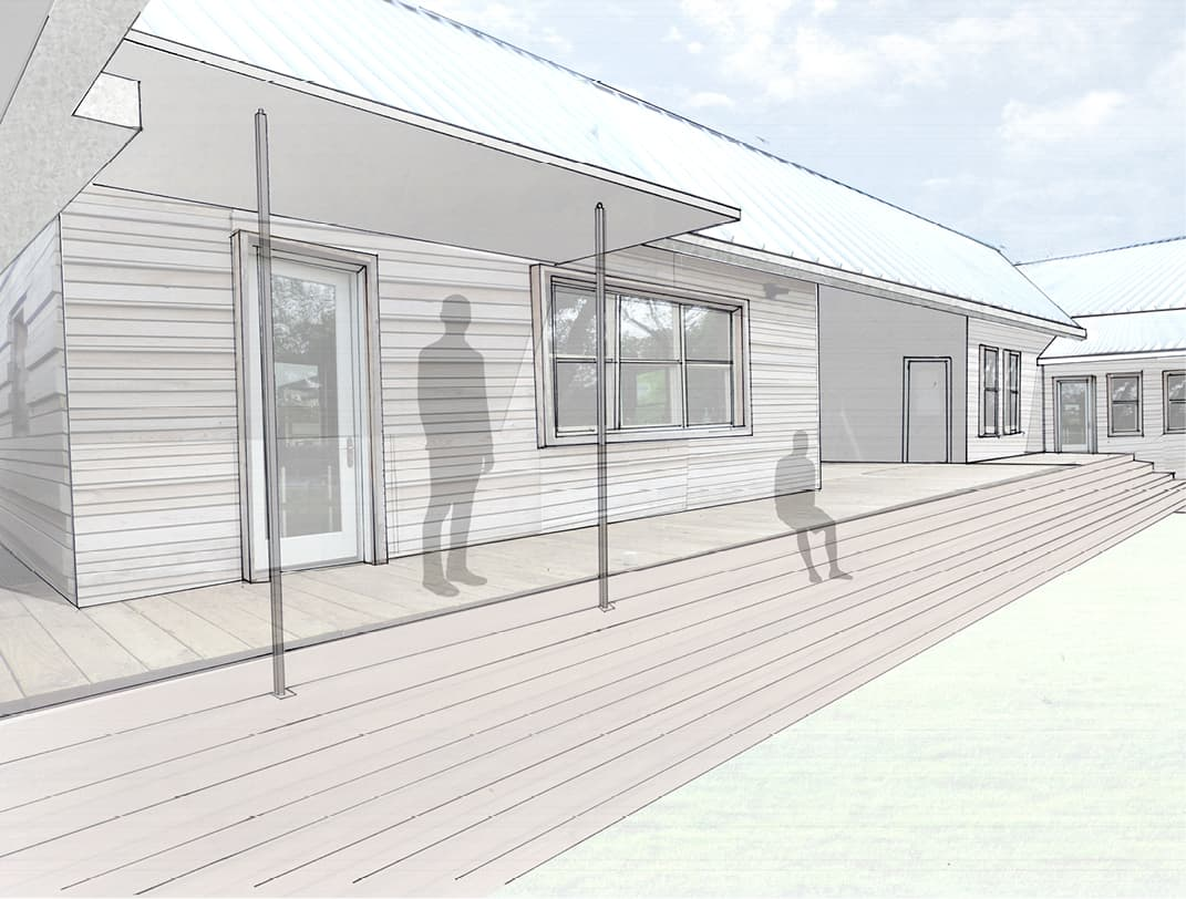 Rendering of rainwater collection awning