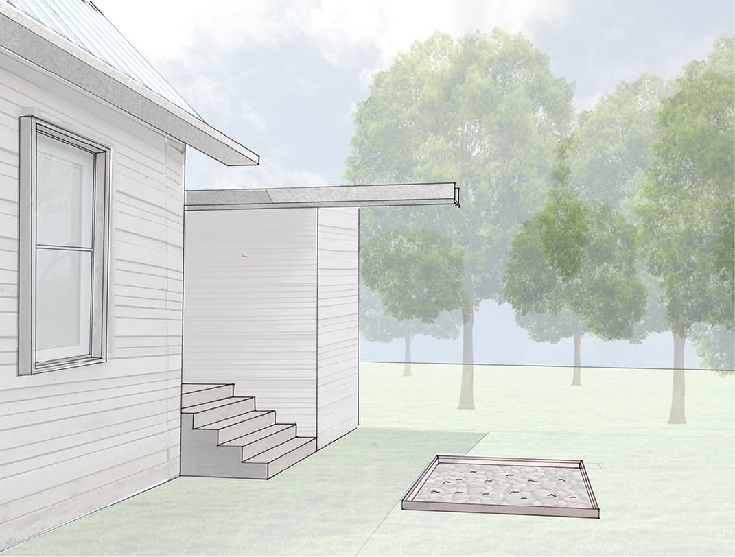 Rendering of downspout
