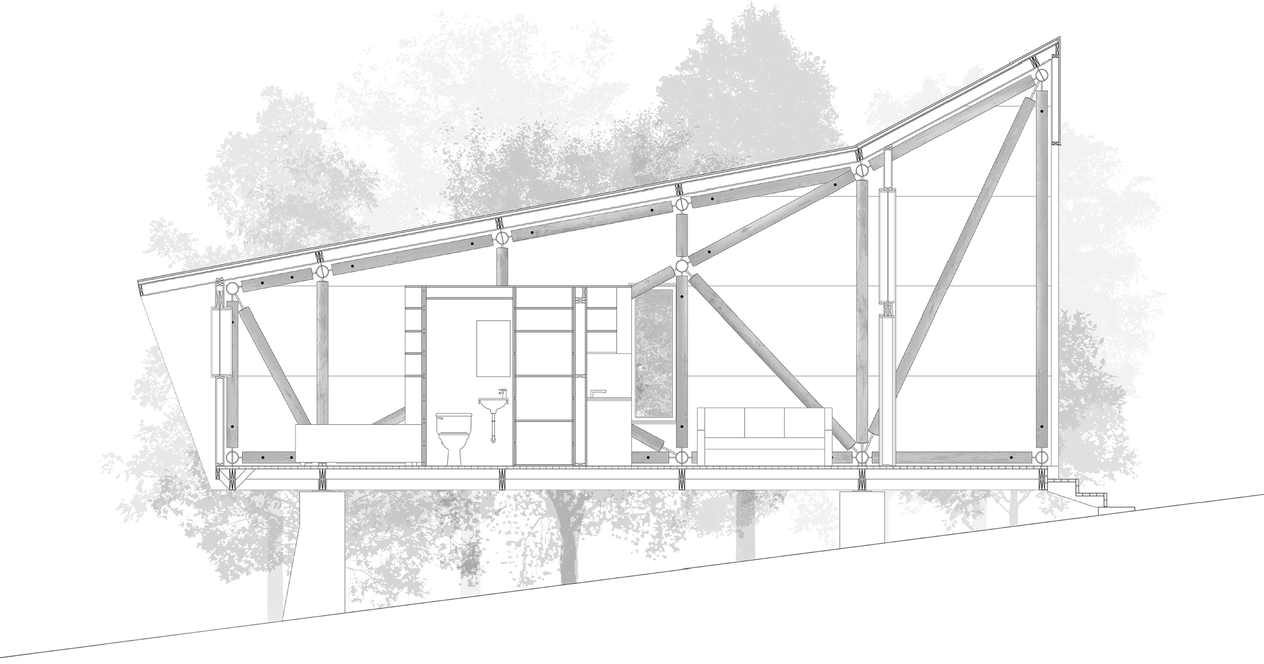 side view of roundwood home architectural drawing