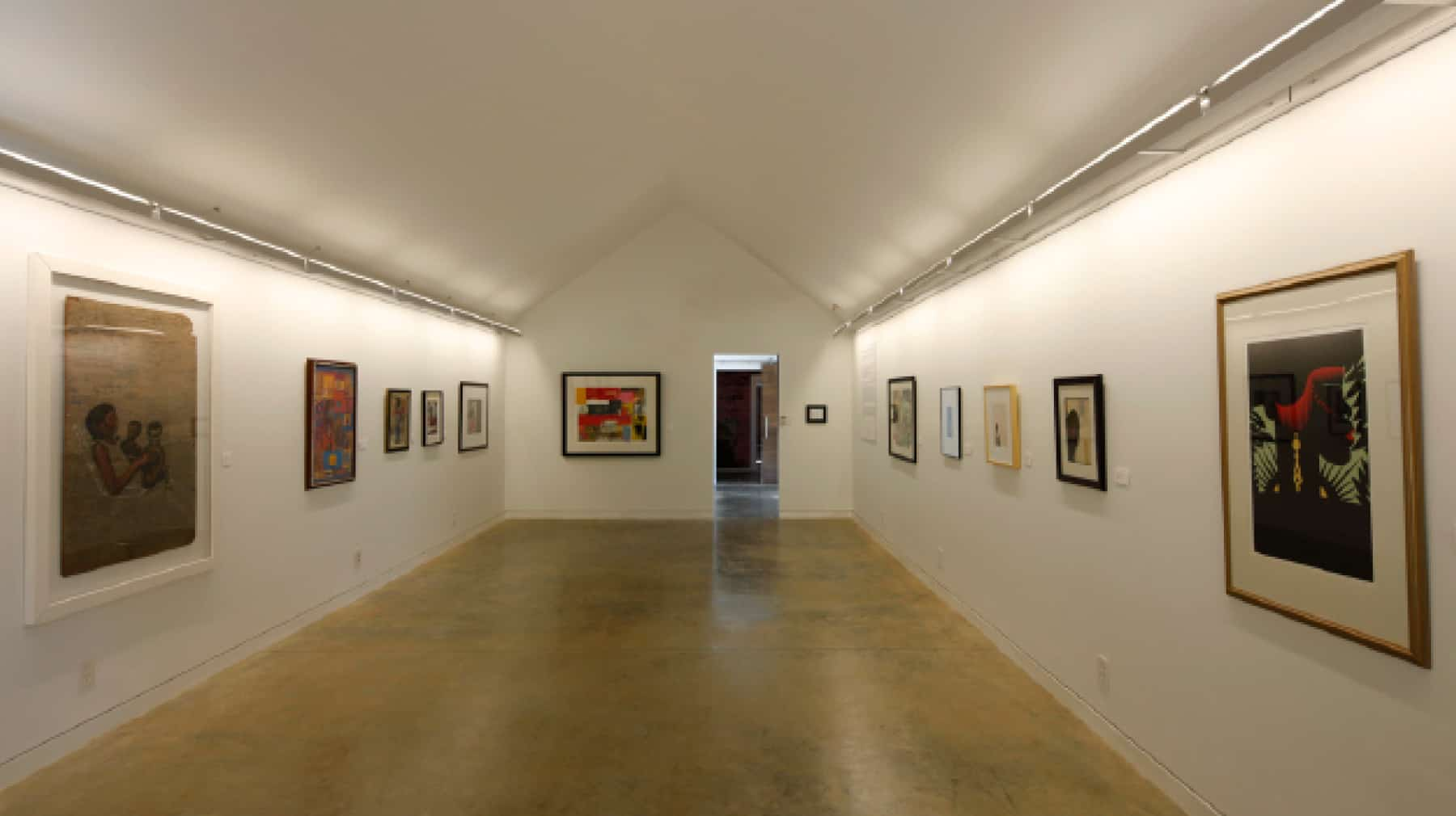 interior shot of gallery displaying African American art of the region