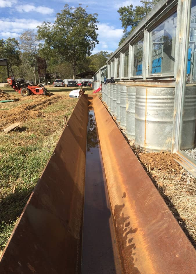 metal trough in ground