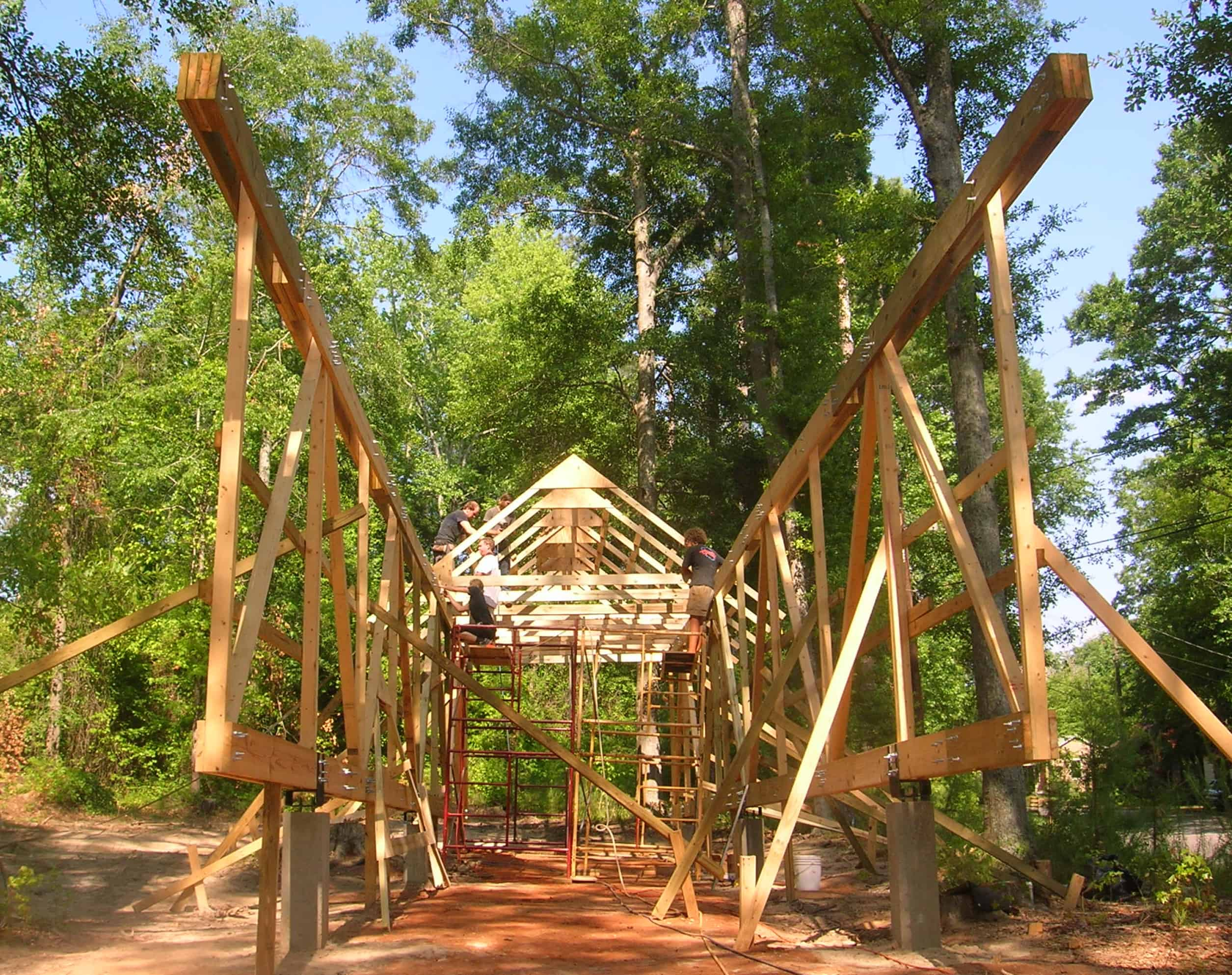 students constructing trusses