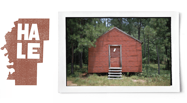 graphic of Hale county and photograph by William Christenberry