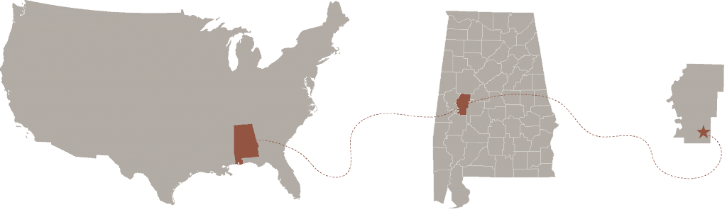 map showing hale county's relationship to the state of Alabama