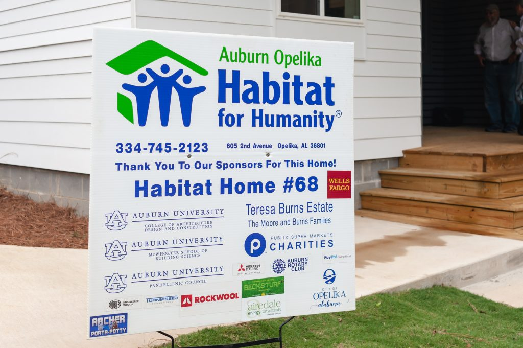 yard sign with partner logos