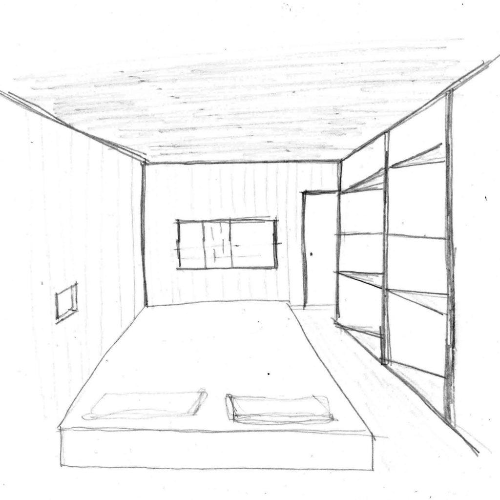 Perspective of the bedroom.