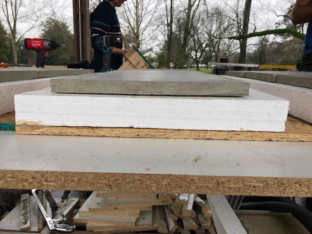 concrete panel on top of foam and OSB