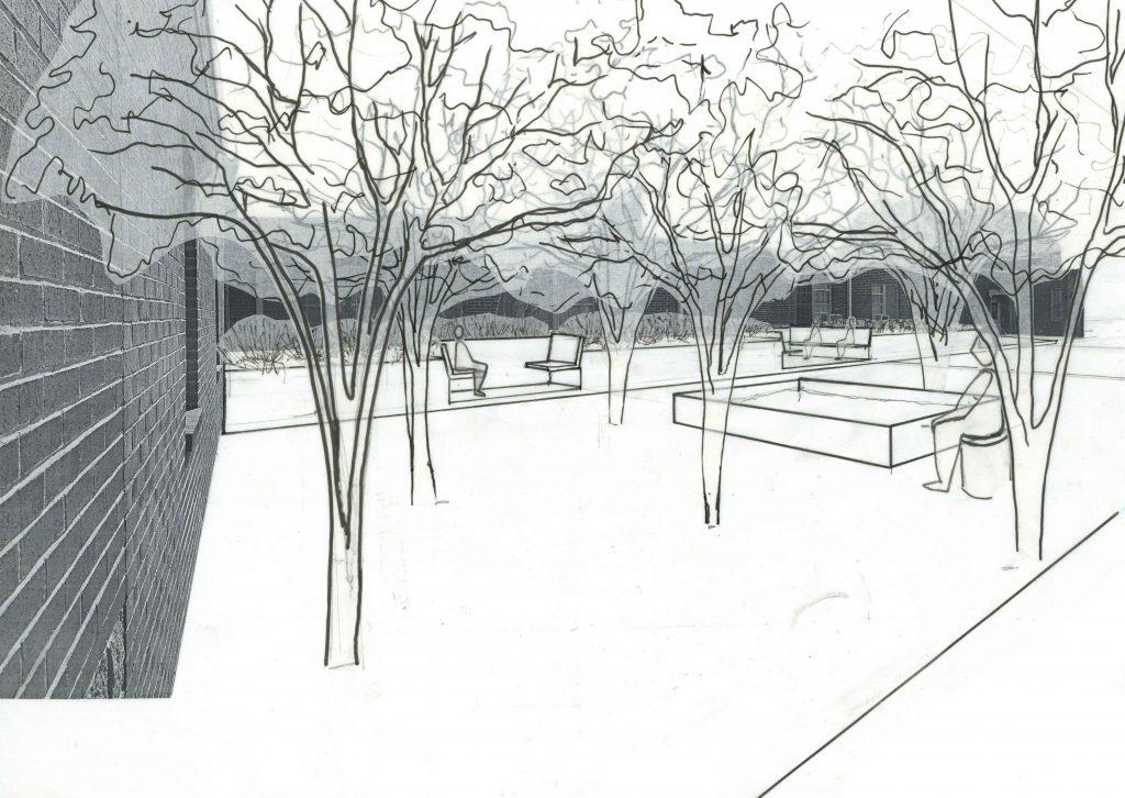 perspective drawing of healing garden in courtyard