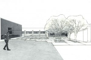 perspective drawing of courtyard lawn