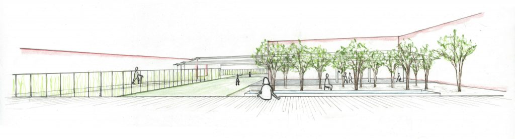 perspective drawing of courtyard