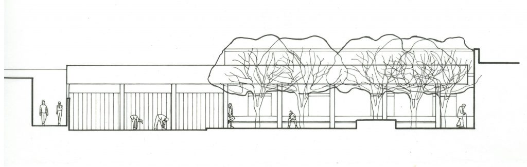 section drawing of porch