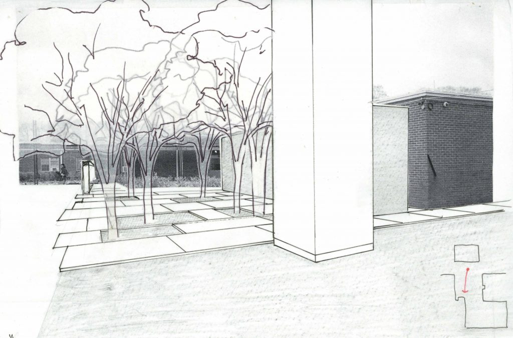 perspective drawing of courtyard staff area