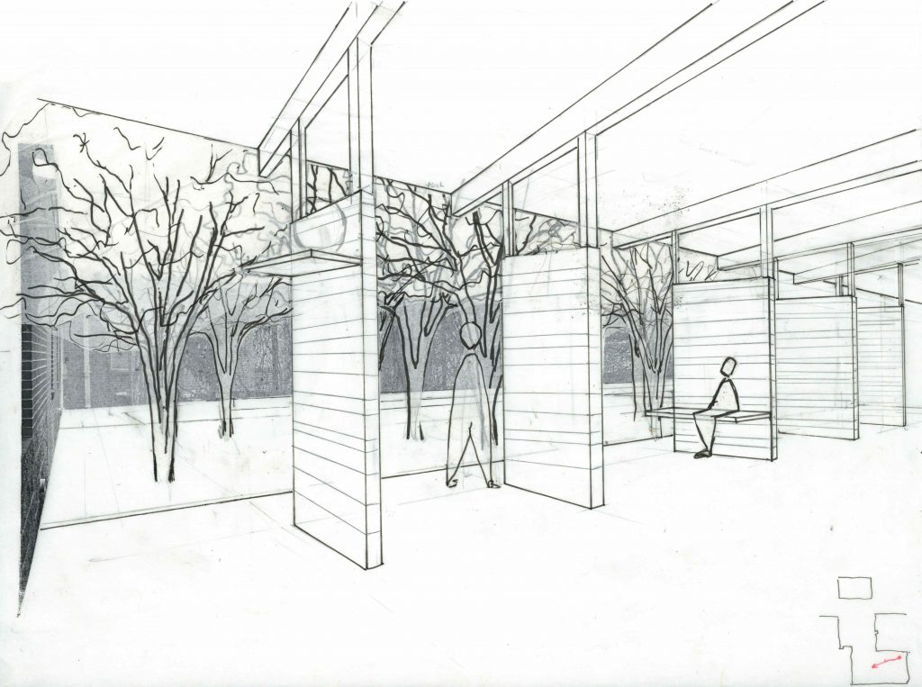 perspective drawing of under porch in courtyard