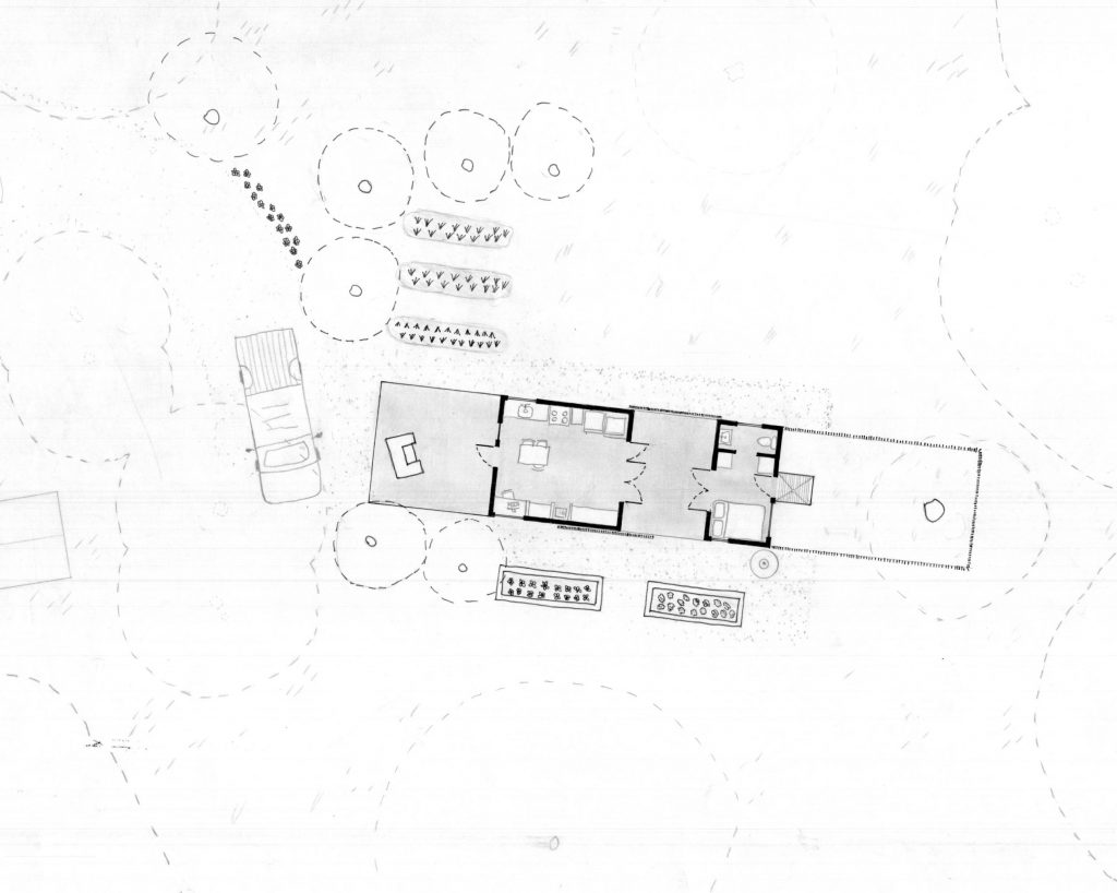 "Drawing of ""dogtrot"" scheme on site"