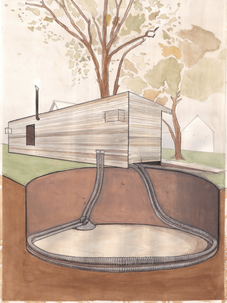 Watercolor showing how Earthtubes work underground