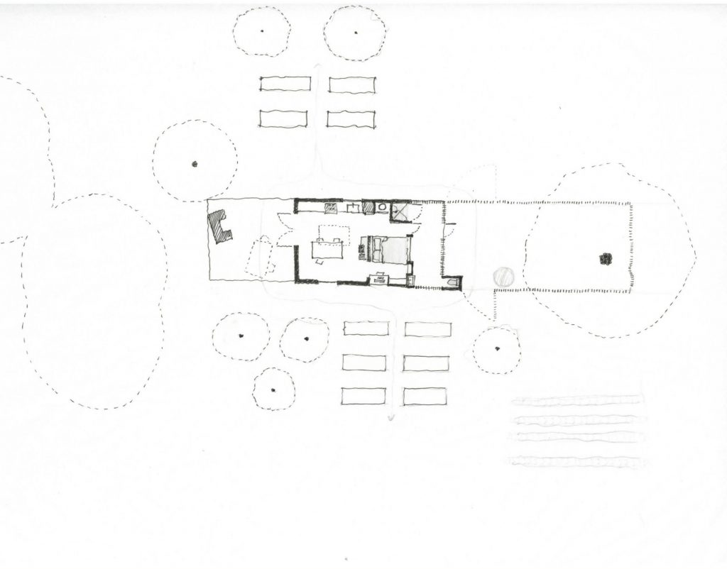"Drawing of ""two porch"" scheme on site"