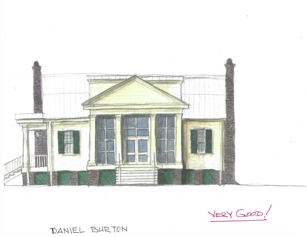watercolor sketch with no reline comments of Givhan House