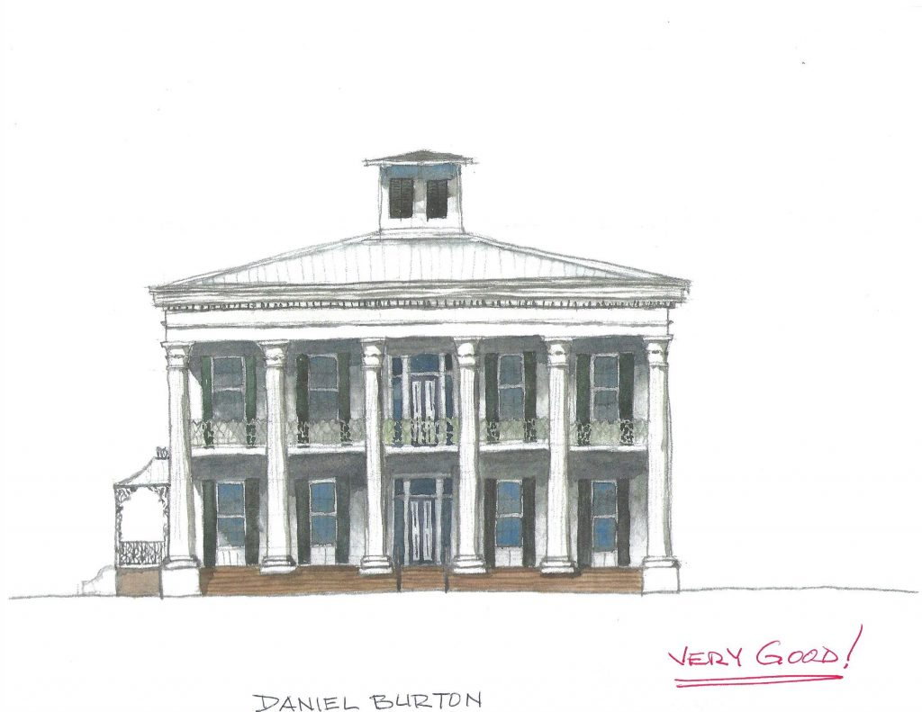watercolor sketch with no redline comments of Sturdivant Hall