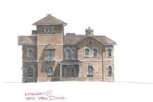 watercolor with no redline of Kenworthy Hall