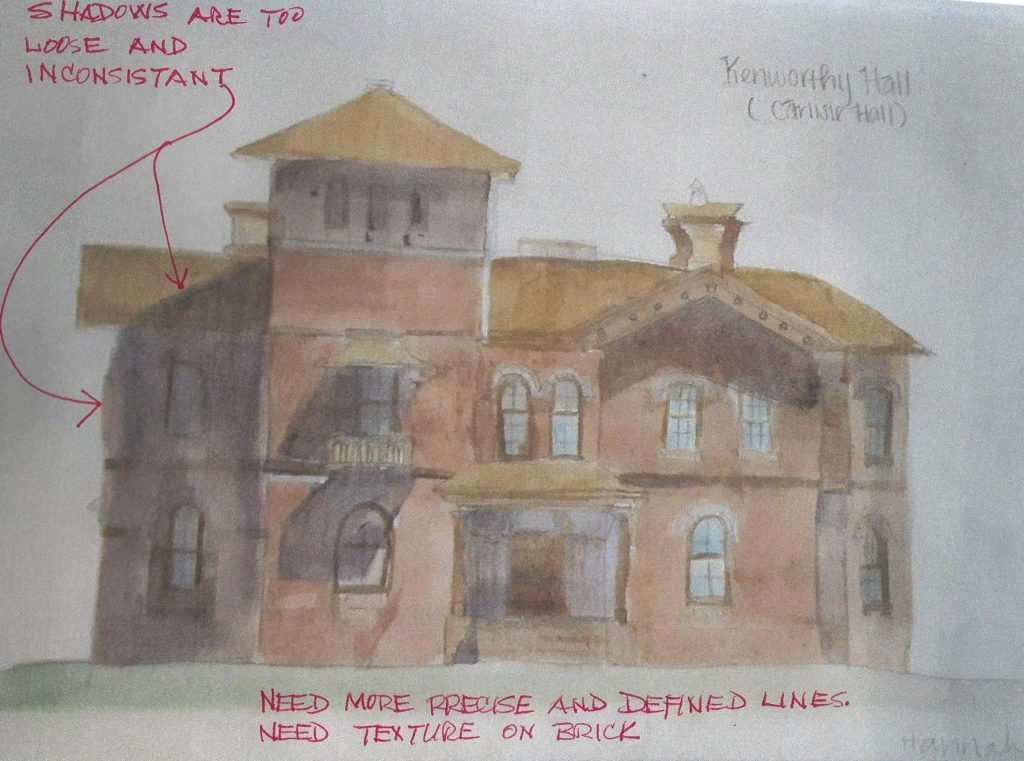 watercolor with redline of Kenworthy Hall