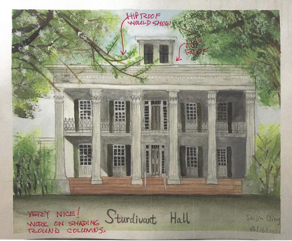 watercolor sketch with redline comments of Sturdivant Hall