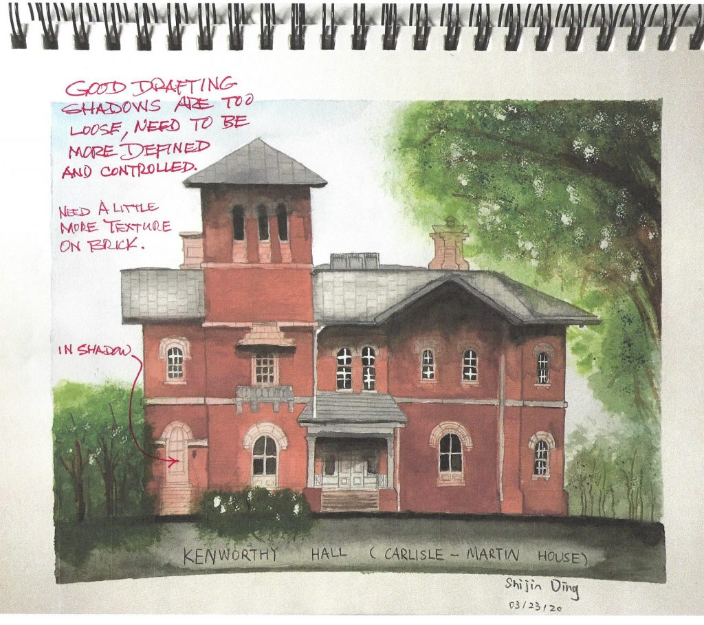 watercolor sketch with redline of Kenworthy Hall