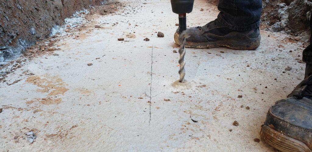 Using hammer drill for threaded rod holes