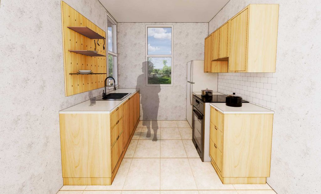 rendering of kitchen cabinets' design