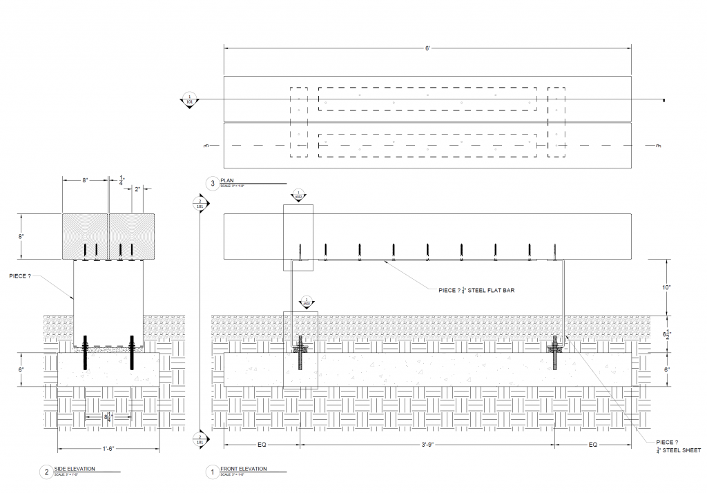 Drawing of bench details and annotations