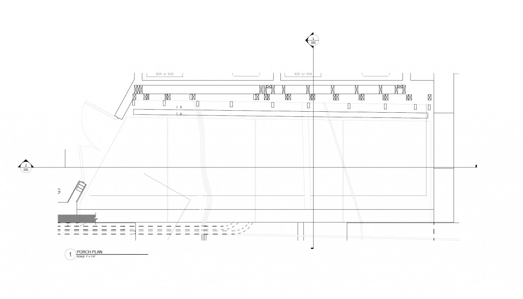 Porch plan indication section cut lines