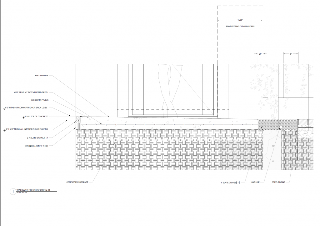 Cross section drawing of concrete sidewalk and screen footing