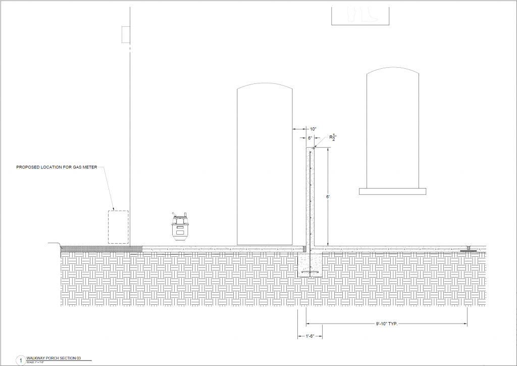 Drawing of concrete sidewalk and wall at North end
