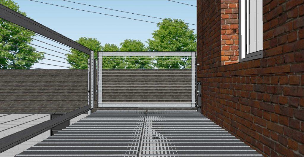 Drawing of walkway railing end